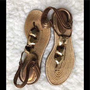 Diane von Furstenburg Gold and Bronze Sandals